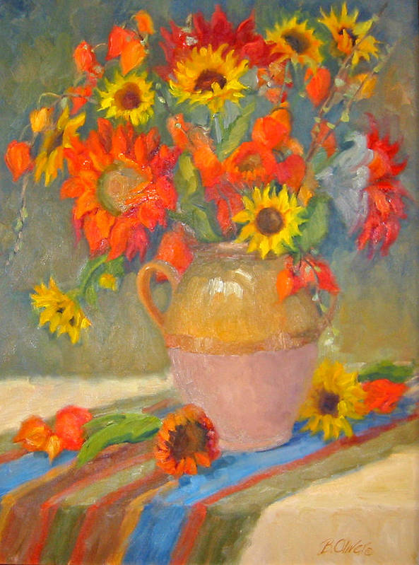 Sunflowers Art Print featuring the painting Sunflowers And More by Bunny Oliver