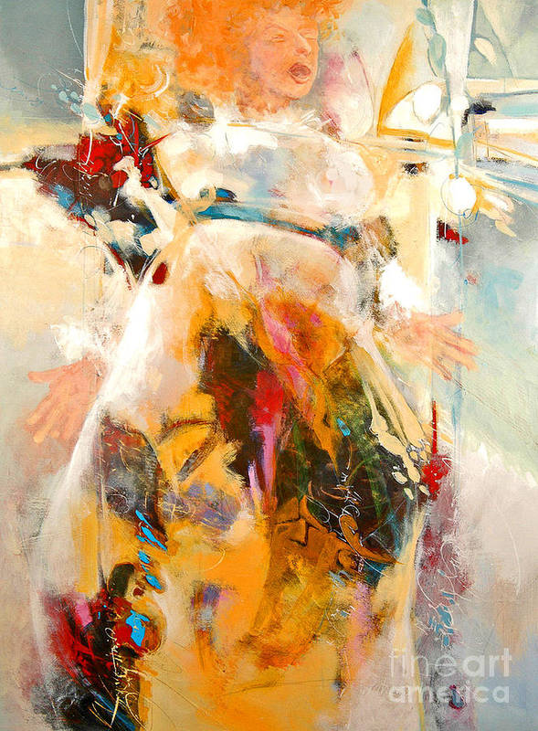 Figure Art Print featuring the painting Unseeing Singer by Dale Witherow