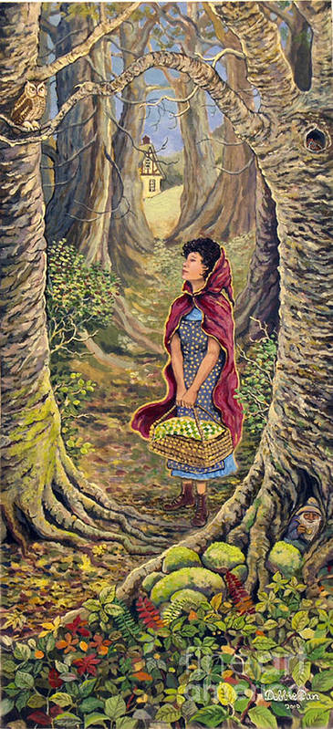 Forest Art Print featuring the painting Red Riding Hood On The Path To Grama's House by Debbie Dan