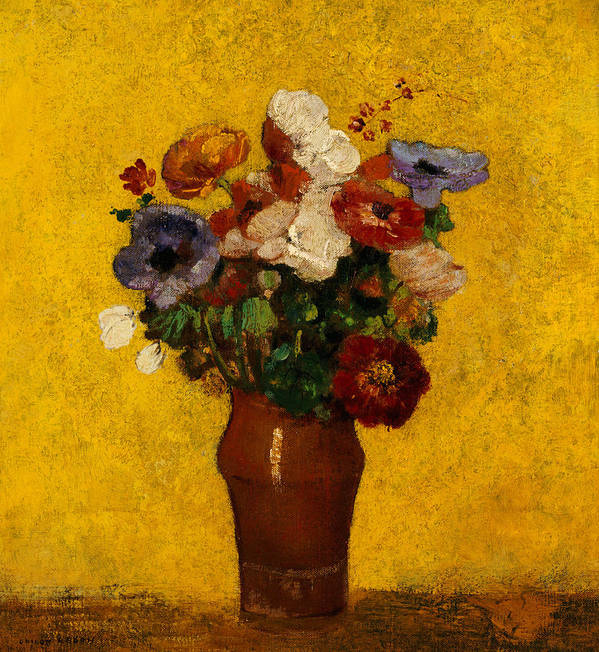 Still Life; Flower; Vase Art Print featuring the painting Flowers by Odilon Redon