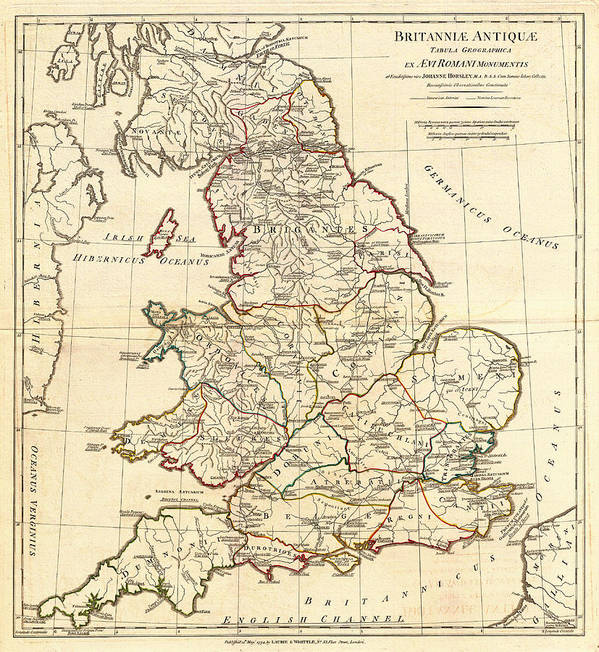 picture regarding Printable Map of Ancient Rome titled Antique Map Of England In just Historical Roman Periods Artwork Print