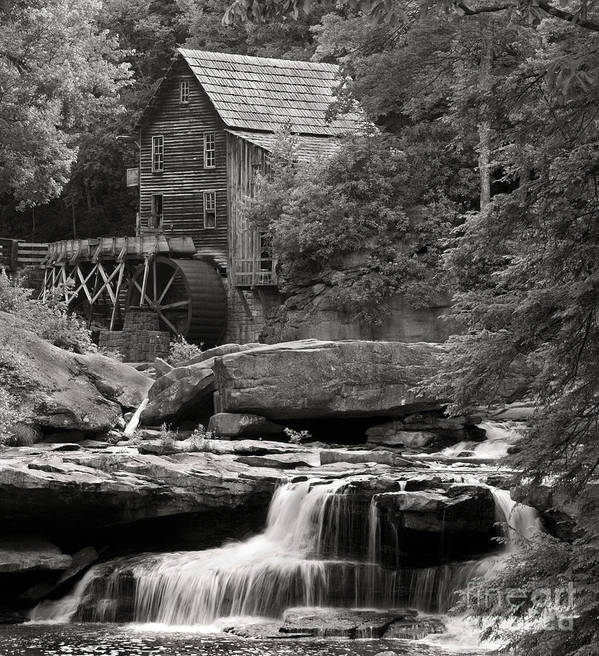 B+w Art Print featuring the photograph Babcock Grist Mill No. 1 by Jerry Fornarotto