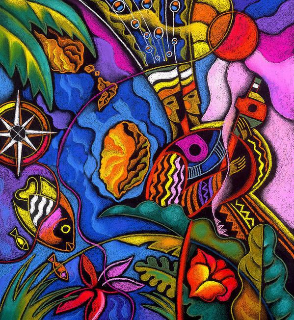 Animal Animals Aquatic Aquatic Life Beach Caribbean Color Colorful Compass Costume Fish Flower Flowers Marine Native Natives Ocean Ocean Life Sea Sea Creatures Sun Tropical Tropics Art Print featuring the painting Caribbean by Leon Zernitsky