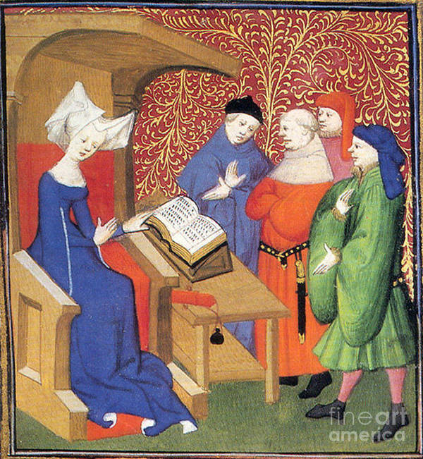 Historic Art Print featuring the photograph Christine De Pizan Lecturing To Men by Photo Researchers