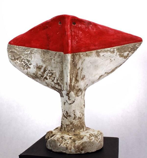 Cubist Art Print featuring the sculpture Fabulas Red Humanum by Mark M Mellon