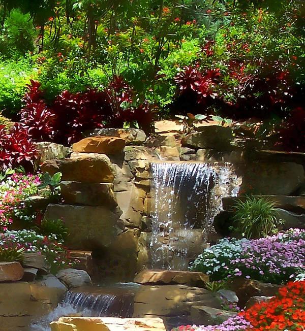 Garden Art Print featuring the photograph Garden Waterfalls by Pharris Art
