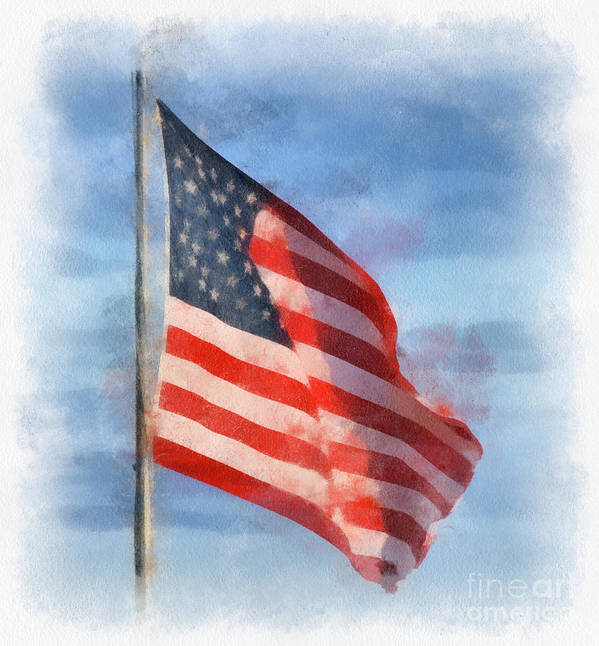 American Flag Art Print featuring the photograph Long May She Wave by Kerri Farley