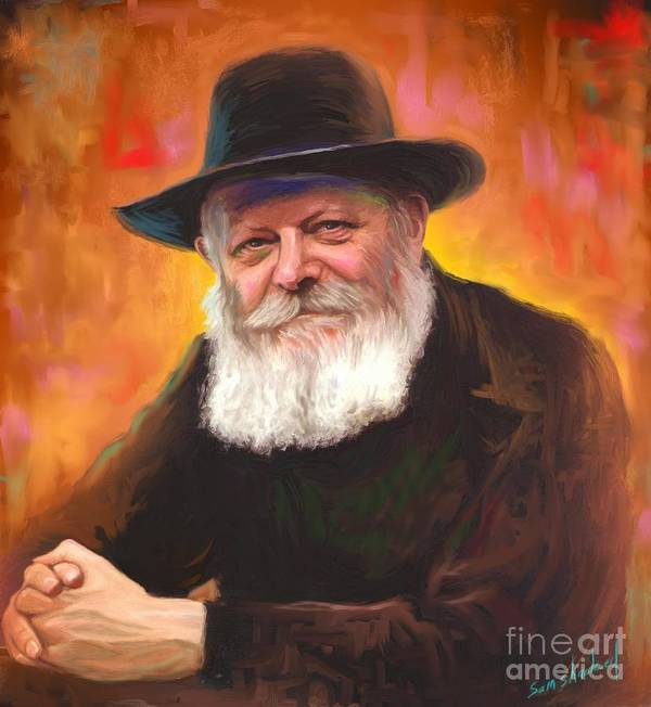 Lubavitcher Rebbe Art Print featuring the painting Lubavitcher Rebbe by Sam Shacked
