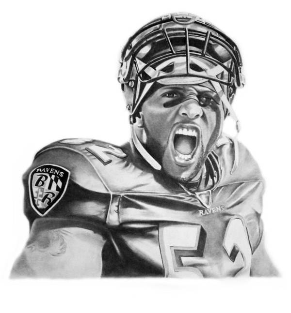 Ray Lewis Art Print featuring the drawing Ray Lewis by Don Medina