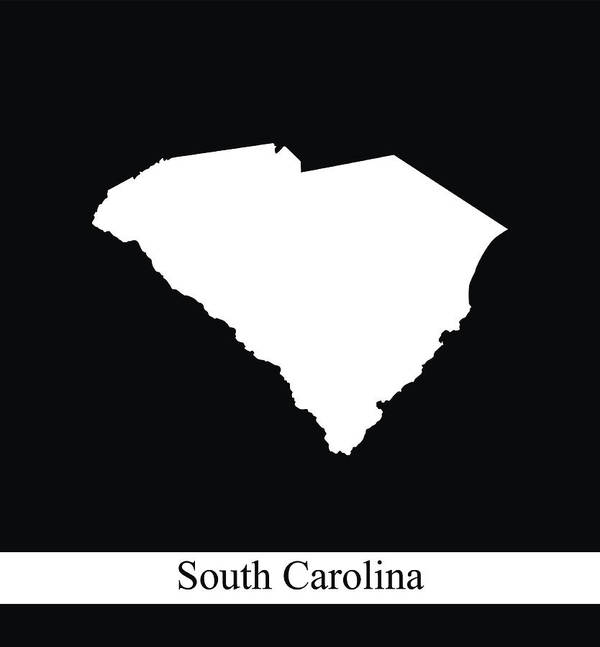 South Carolina Map Outline Vector In Black And White Background Art