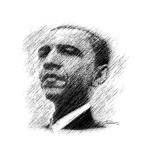 Barack Obama Art Print featuring the digital art Barack Obama by John Travisano