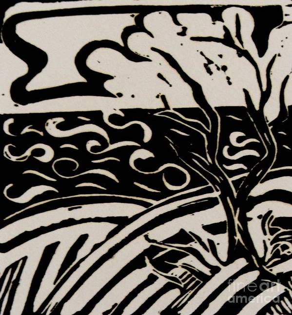 Relief Art Print featuring the relief Land Sea Sky In Black And White by Caroline Street