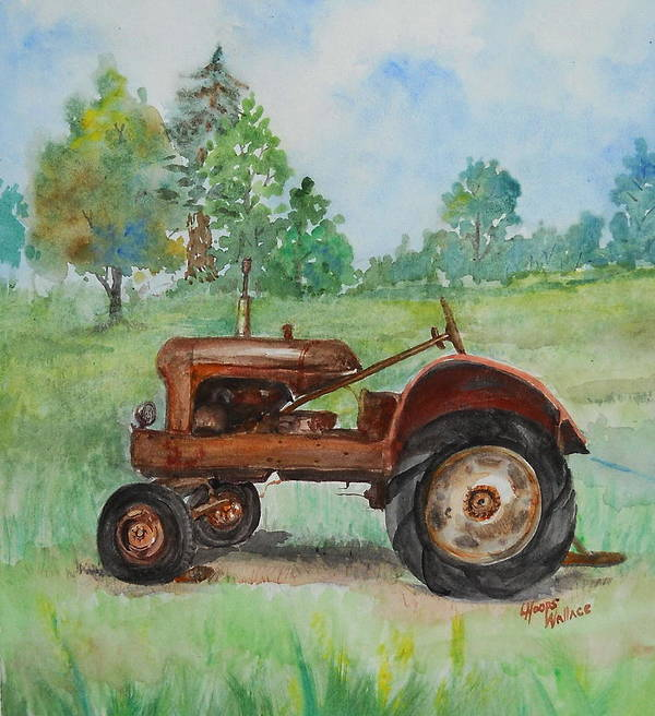 Leslie Art Print featuring the painting Lee's Tractor by Leslie Hoops-Wallace