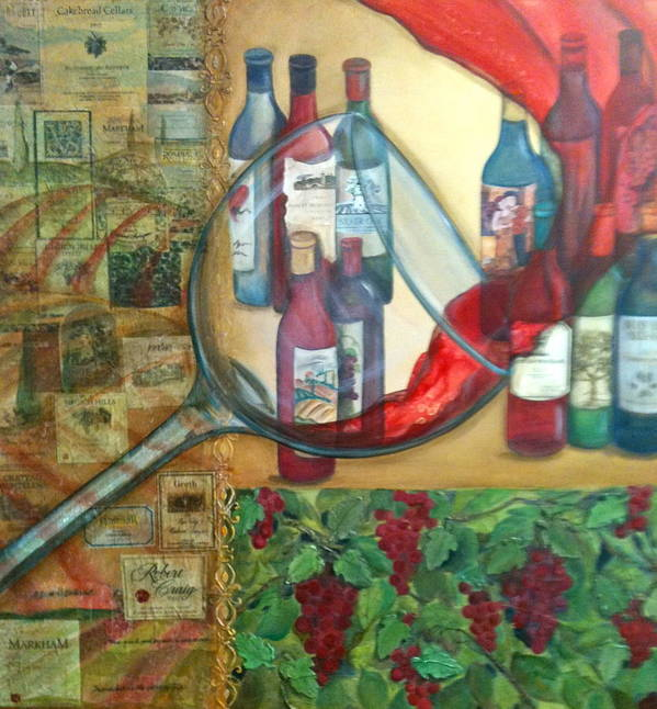 Wine Art Print featuring the painting One Glass Too Many by Debi Starr