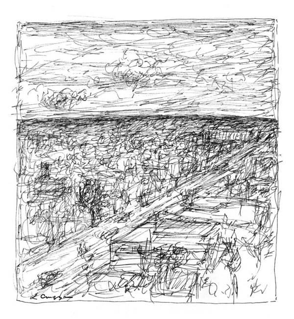 Landscape Art Print featuring the drawing Skyline Sketch by Elizabeth Carrozza