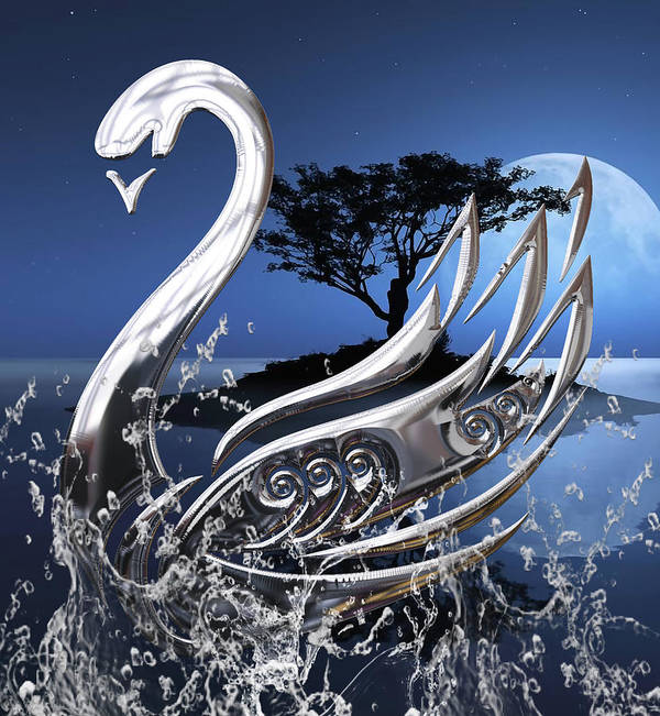 Swan Art Print featuring the mixed media Swan Art. by Marvin Blaine