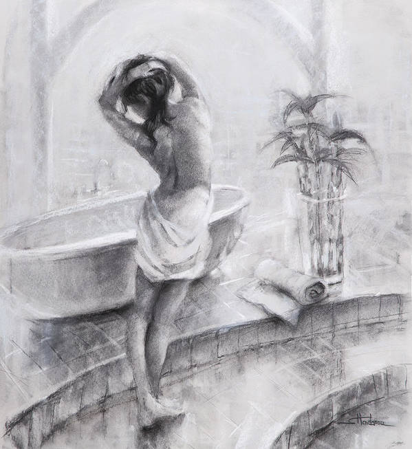 Bath Art Print featuring the painting Bathed In Light by Steve Henderson