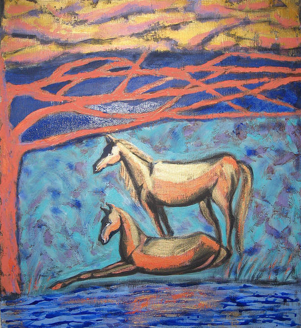 Horse Art Print featuring the painting Chinook Is Coming by Aliza Souleyeva-Alexander