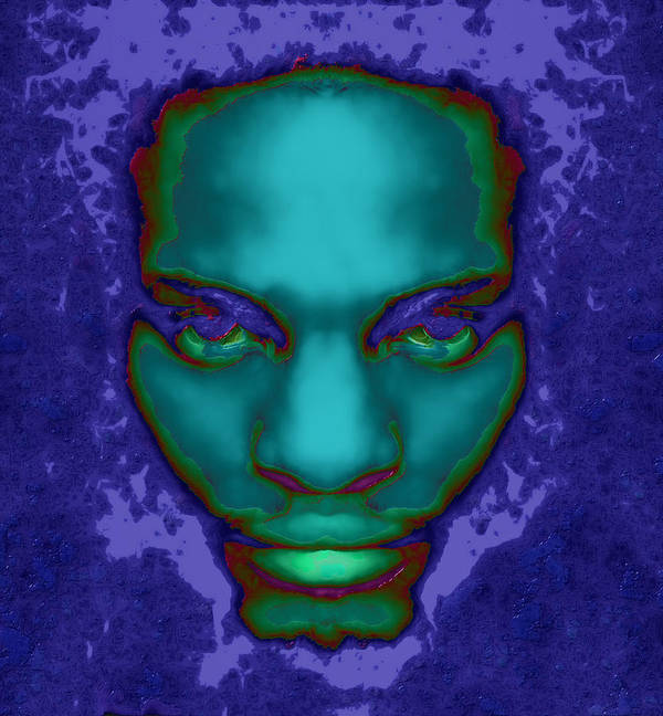 Male Abstract Portrait Art Print featuring the digital art Emerge by Devalyn Marshall