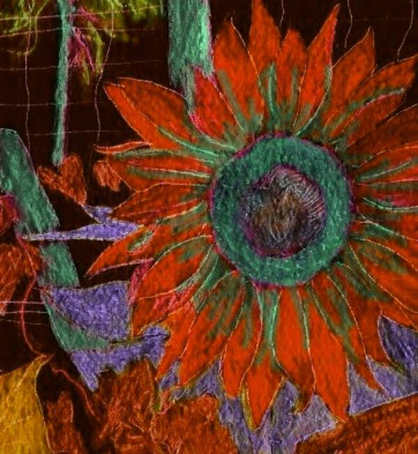 Digital Art Art Print featuring the digital art Fall Sunflower by Margie Byrne