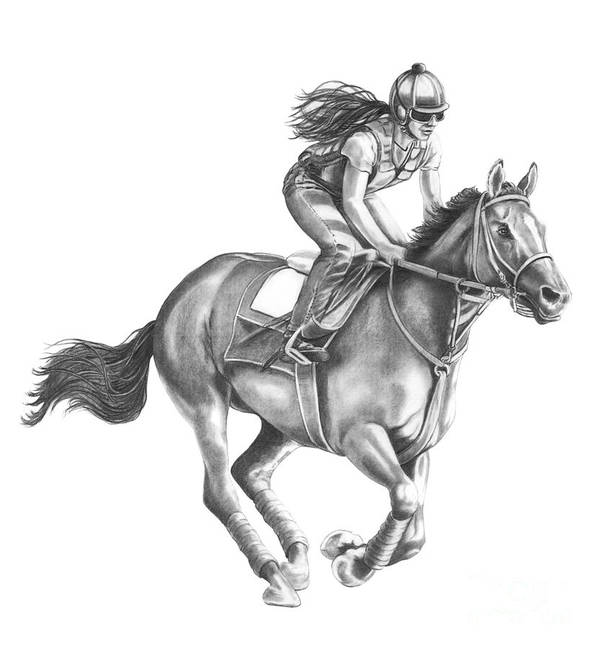 Horse Art Print featuring the drawing Full Gallop by Murphy Elliott