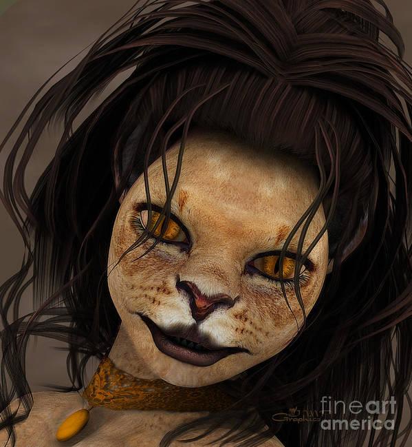 3d Art Print featuring the digital art Lioness by Jutta Maria Pusl
