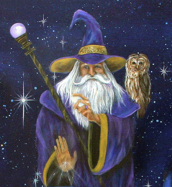 Merlin Art Print featuring the painting Magical Merlin by Sundara Fawn