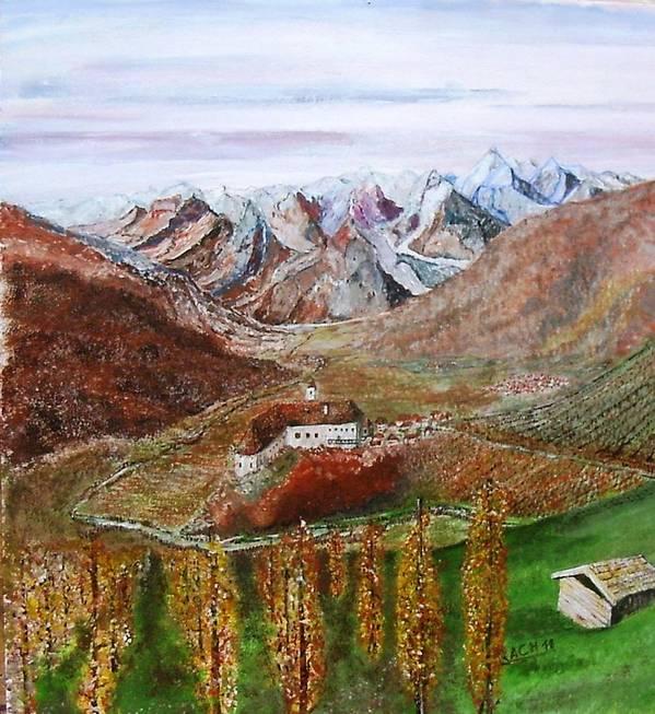 Castle Art Print featuring the painting Mountain Castle by Klaus Rach