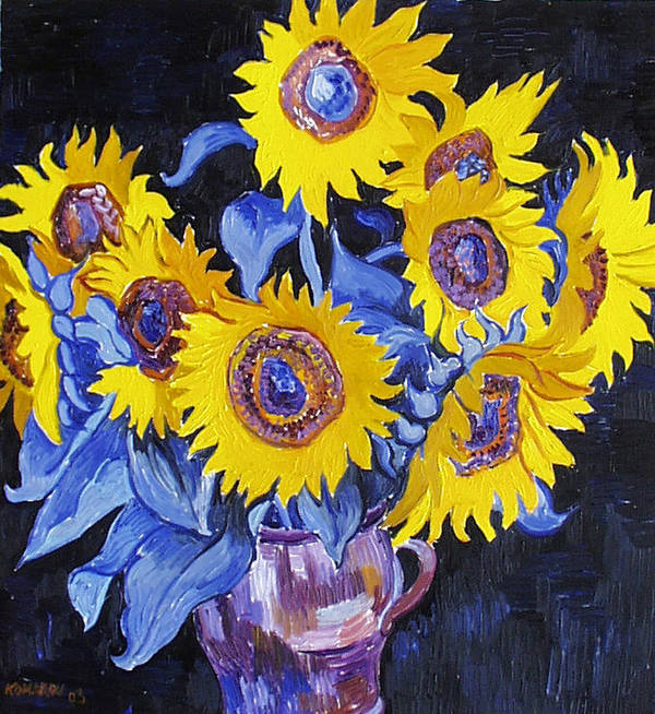 Sunflower Art Print featuring the painting Nine Sunflowers With Black Background by Vitali Komarov