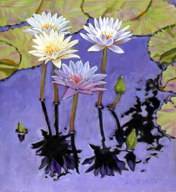 Water Lilies Art Print featuring the painting Pastel Petals by John Lautermilch