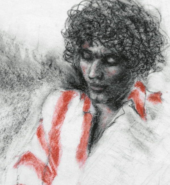 Portrait Art Print featuring the drawing Red Stripes by Ruth Mabee