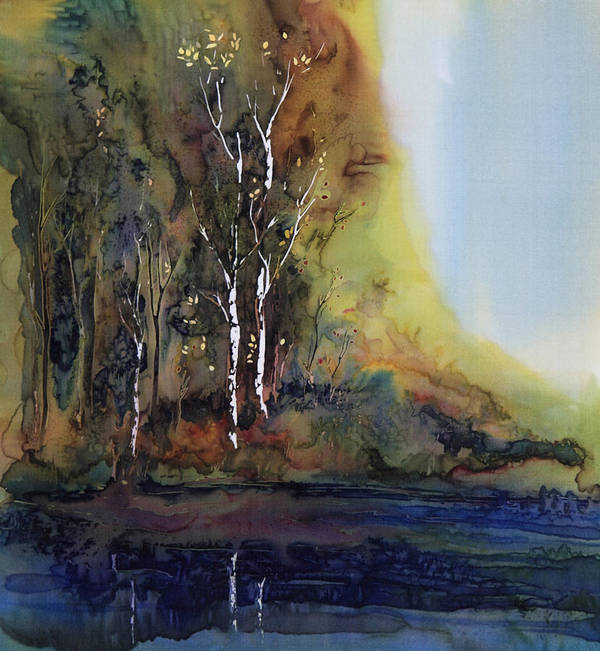 Batik Art Print featuring the tapestry - textile Reflections by Carolyn Doe