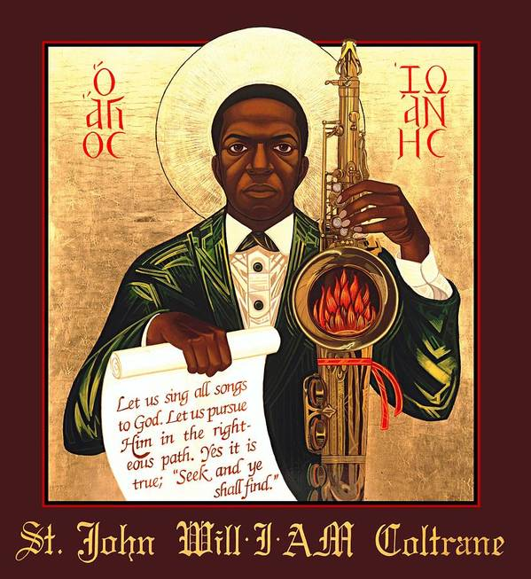 Saint John Coltrane. Black Christ Religion Print featuring the painting Saint John The Divine Sound Baptist by Mark Dukes