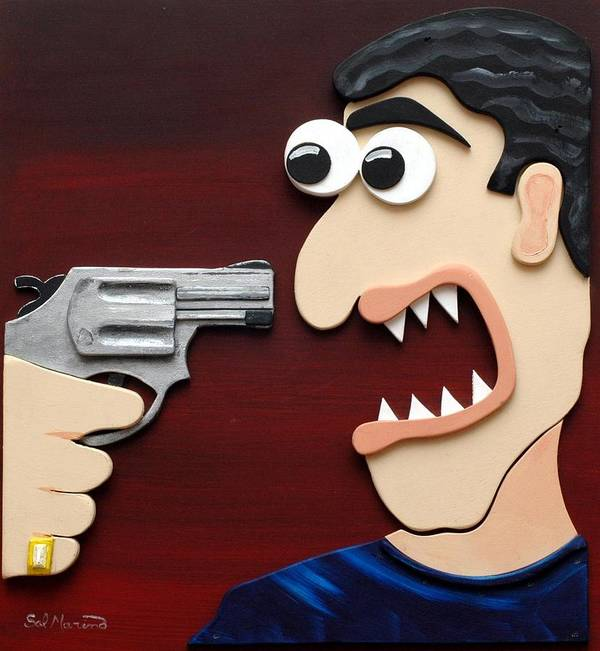 Funism Art Print featuring the painting Shut Up by Sal Marino