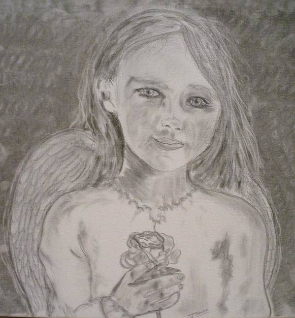 Angels Art Print featuring the drawing Silvia by J Bauer