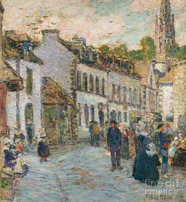 Street In Pont Aven - Evening Art Print featuring the painting Street In Pont Aven by Childe Hassam
