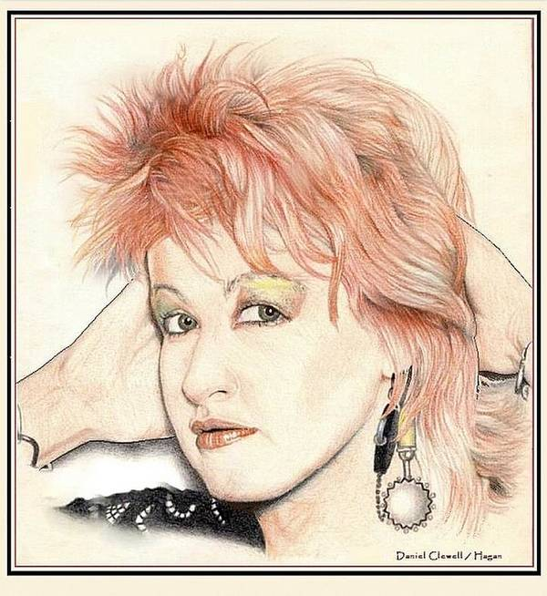 Female Art Print featuring the drawing The Cyndi Lauper by Dan Clewell