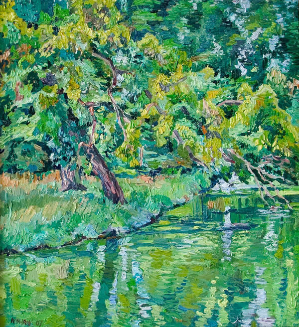 Landscape Art Print featuring the painting Tree Near A Pond In Lednice Castle Park by Vitali Komarov