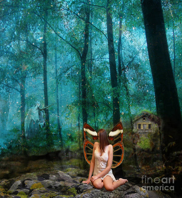 Fairy Art Print featuring the digital art Unicorn In The Forest by Patricia Ridlon