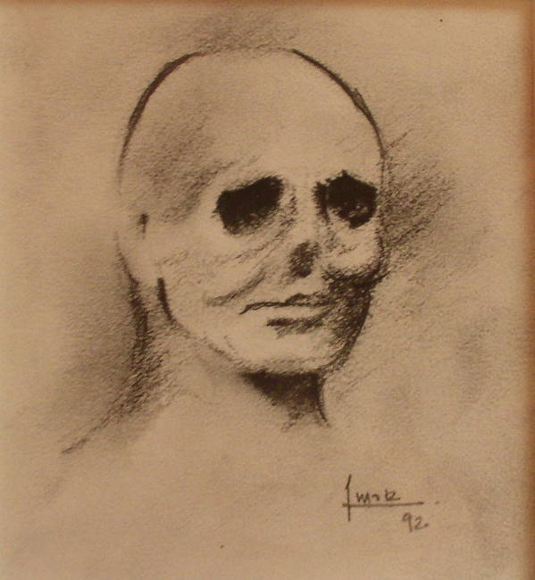 Face Art Print featuring the drawing Untitled by Victor Amor
