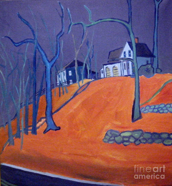 Houses On A Hill Art Print featuring the painting Up Above Dunstable by Debra Bretton Robinson