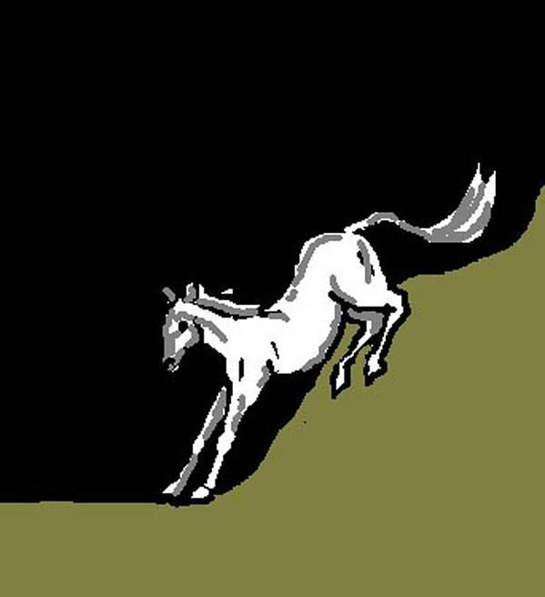 Horse Art Print featuring the digital art Whee by Carole Boyd