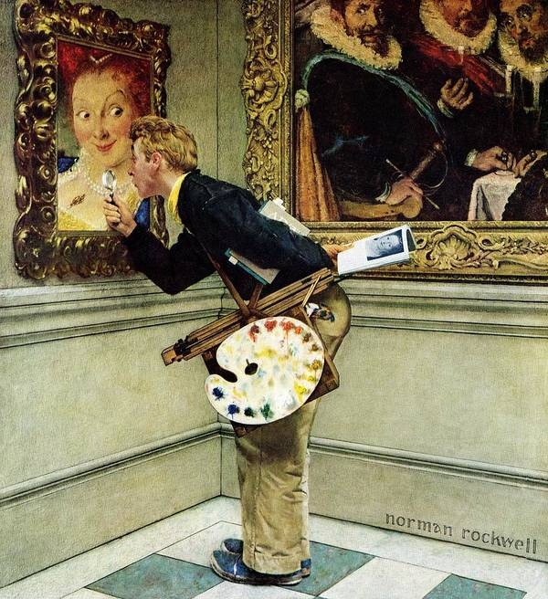 Artists Art Print featuring the drawing Art Critic by Norman Rockwell