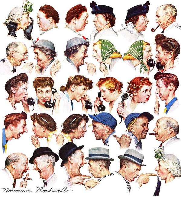 Gossiping Art Print featuring the drawing Chain Of Gossip by Norman Rockwell