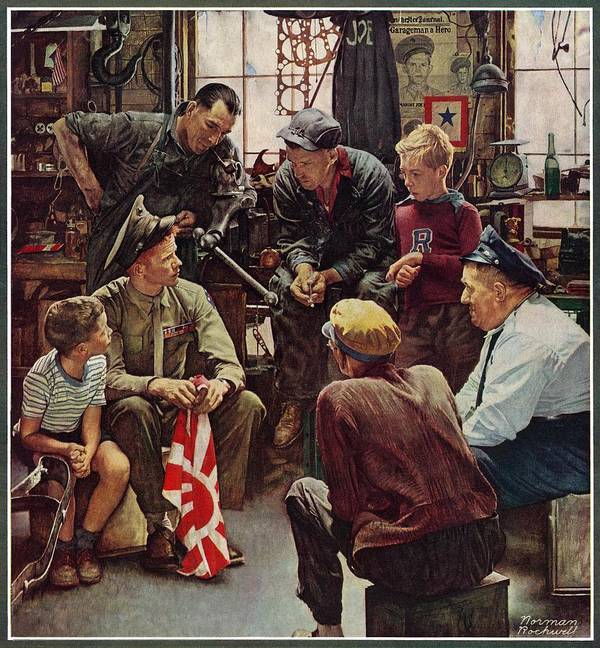 Flags Art Print featuring the drawing Homecoming Marine by Norman Rockwell