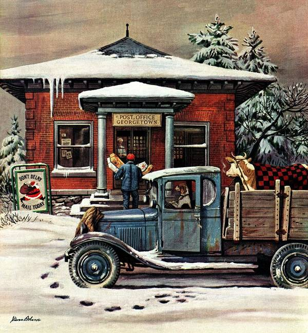 Christmas Art Print featuring the drawing Rural Post Office At Christmas by Stevan Dohanos