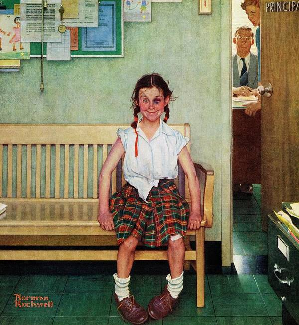 Black Eyes Art Print featuring the drawing Shiner by Norman Rockwell
