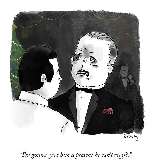 I'm Gonna Give Him A Present He Can't Regift. Art Print featuring the drawing Give Him A Present by Avi Steinberg