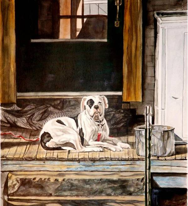 Animal Art Print featuring the painting Doorkeep by Thomas Akers