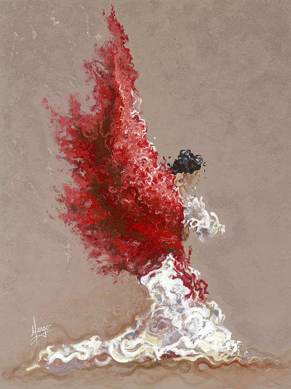 Dance Art Print featuring the painting Fire by Karina Llergo